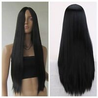 80cm New Hot Long Straight Women Fashion Synthetic Hair Men Parted Black Wig+Cap