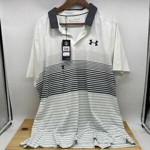 NEW 2XL Under Armour Mens UA Iso-Chill Polo Stripe White Grey 1350213-100