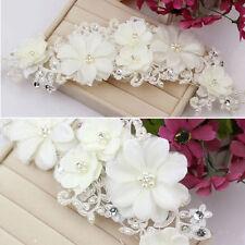 Women Wedding Bride Lace Pearl Headwear Bridal Flower Hair Clip Headdress White