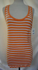 GAP The Modern Tank Top S Slim Fit Stripes Tangerine White Pima Cotton & Modal