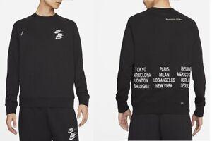 Mens Nike Sportswear Crew Sweatshirt Embroidered Black M L XL XXL