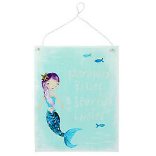 Mermaid Kisses & Starfish Wishes Blue Metal Hanging Plaque Glittery Door Sign