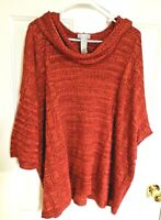 Catherines Red Metallic Thread Pullover Sweater Cowl Neck Short Sleeve Womens 3X