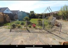 More details for five sectioned painted lengths wrought iron railings fence with archway and gate