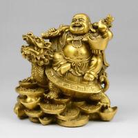 Chinese Copper Wealth Money Happy Laugh Maitreya Buddha On Dragon Turtle Statue