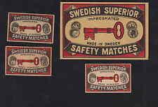 Ancienne   étiquette allumette  Suède BN4401 Clef 1