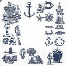 Lot de 2 Serviettes en papier Maritime Mer Symboles Decoupage Decopatch