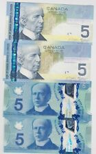 More details for four $5 canada p101aa 2006 & p106 2013 bank notes in mint condition