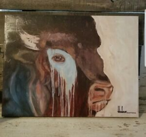 Western buffalo bull canvas style picture wall decor