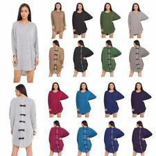 New ladies women long sleeve baggy shirt top tunic bow back dress one size 8-26