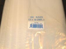 "13""X18"" 2 MIL Poly Clear Ziploc Zipper Ziplock Bags - 100 ea"