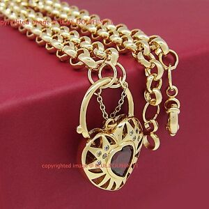 Solid Light Rose Gold GF Belcher Ring Clasp Heart Padlock Ruby Diamond Necklace