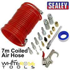 "Sealey Air Blow Gun Kit 19pc 7m Coiled Air Hose Quick Couplers 1/4"" BSP PCL"