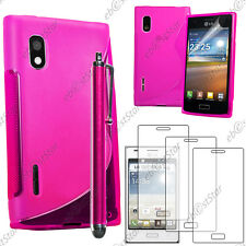 Housse Etui Coque Silicone S-line Rose LG Optimus L5 E610 + Stylet + 3 Films