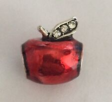 Red Apple With Cz Stalk Charm For Bracelets & Necklace Silver Plated