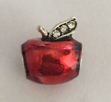 Red Apple With Cz Stalk Charm For Bracelets Silver Plated