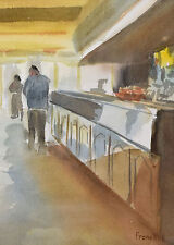 Impressionist Watercolor Painting Quiet Day at the Ice Cream Counter sgnd Franck