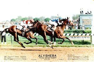 "1987 - ALYSHEBA winning the Kentucky Derby with Statistics - 10"" x 8"""