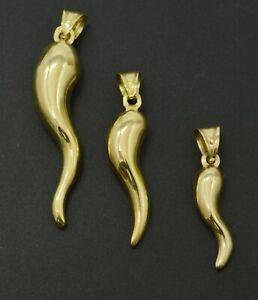 Real 14K Yellow Gold CORNICELLO Italian HORN  Pendant Good Luck Charm All Sizes