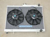 Aluminum Radiator+Fans For NISSAN SKYLINE R33 R34 GTR GTS-T GTST RB25DET M