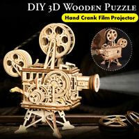 183X 3D Puzzle Toy DIY Hand Crank Film Projector Wooden Assembly Model Kits