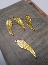 25pcs dark gold-tone crafted wing beads charms h2890