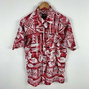 Tribal Origin Fiji Mens Shirt Medium Red Floral Short Sleeve Collared Button Up