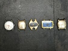 Hand Wind Watch LOT of 5 Watches BULOVA SEIKO BENRUS RIVALLE FOR REPAIR OR PARTS