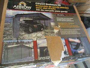 NEW ARROW 10183 GRAY 20' x 20' ENCLOSURE KIT FOR CARPORT (CARPORT NOT INCLUDED)