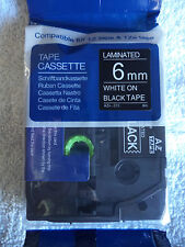 "1 TZ 315 White PRINT Black Label Tape Compatible 1/4"" 6MM TZe 315 26 ft BROTHER"