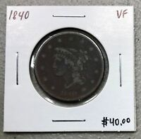 1840 BRAIDED HAIR LARGE CENT ~ VERY FINE CONDITION! $2.95 MAX SHIPPING! C768