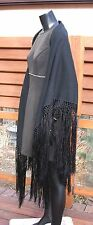 vtg 20's black wool PIANO SHAWL long silk cord FRINGE art deco flapper