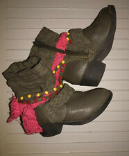 Naartjie Kids Emma Slouch Girls Zipper Boots Brown Pink Lace Beads 2Y Limited