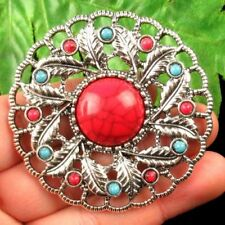 Carved Tibetan Silver Flower Wrapped Turquoise Pendant Bead 57x7mm D44629