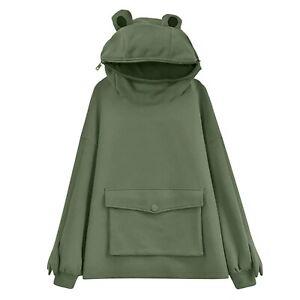 Long Sleeve Women / Men Hoodie Sweatshirt Cute Frog Tops Pullover Harajuku Coats