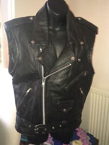 Vintage Black Biker  Leather Gillet Size 40