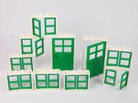 LEGO windows + doors for house (pack of 10) 1x4x3 SLIM WHITE GREEN BRAND NEW *