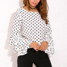 UK Womens Work Office Blouse Top Vintage Dot Ruffle Short Sleeve Frill T-Shirt