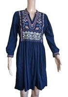 Johnny Was Womens Navy Blue Long Sleeved Dress Embroidered V Neck Size Small
