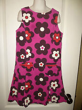 MINI BODEN ~BERRY, BROWN & WHITE~ CORDUROY FLOWER DRESS Lined 9-10 yr SO NICE!