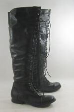 "Blacks 1""low heel front lace up over the knee combat sexy boots  Size 8.5 p"