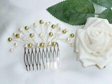 Handmade Bridal Bridesmaid-Vert Olive & Ivory Pearl petits cheveux peigne diapositive