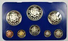 1978 Barbados 8 Coin Proof Set $5 $10 Silver- w/ Box & COA