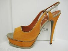 NIB YSL Yves Saint Laurent COSMO 105 SUEDE PLATFORM SLINGBACK SANDALS Shoes 41