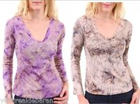 Top T-Shirt  Maglia Donna Blusa SEXY WOMAN P816127 con Perline A323 Tg S M L **
