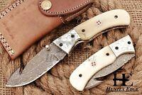 HUNTEX Custom Handmade Damascus Steel 11 cm Long Hunting Folding Gut Hook Knife