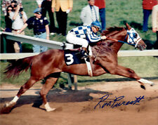 SECRETARIAT -ICONIC 1973 PREAKNESS STAKES 8X10 PHOTO SIGNED BY RON TURCOTTE +COA