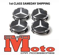 Mercedes Black Wheel Centre Hub Caps AMG A B C E S M Class ML CLA GLA SLK