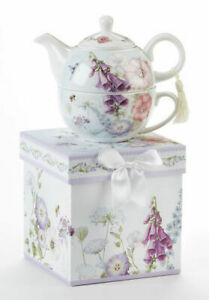 Delton Porcelain Tea for One Gift Set  Stacked Teapot & Cup  BELL ISLE