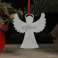 Personalised Christmas Tree Angel Bauble Decoration Xmas Family Any Name Gift